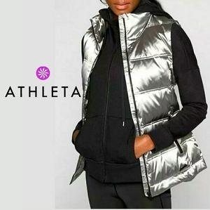 Athleta Metallic Silver Puffer Vest